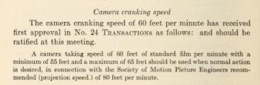proposed standard cranking and projection speed circa 1927 from SMPE